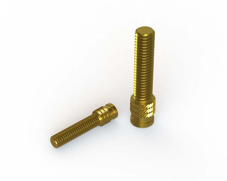 Cold insertion threaded studs (self-clinching)